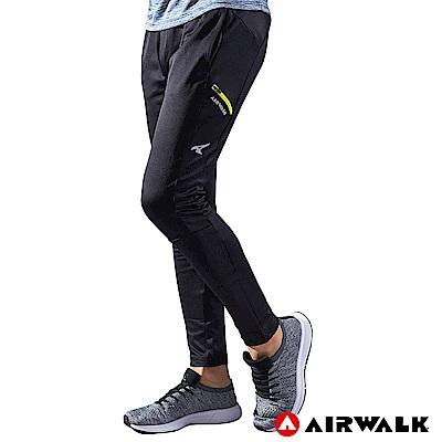 【AIRWALK】男款剪接運動長褲-黑色