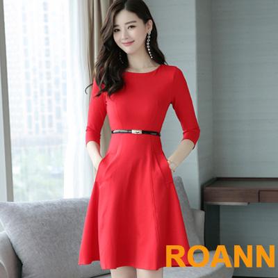 小清新圓領七分袖洋裝附腰帶 (共二色)-ROANN
