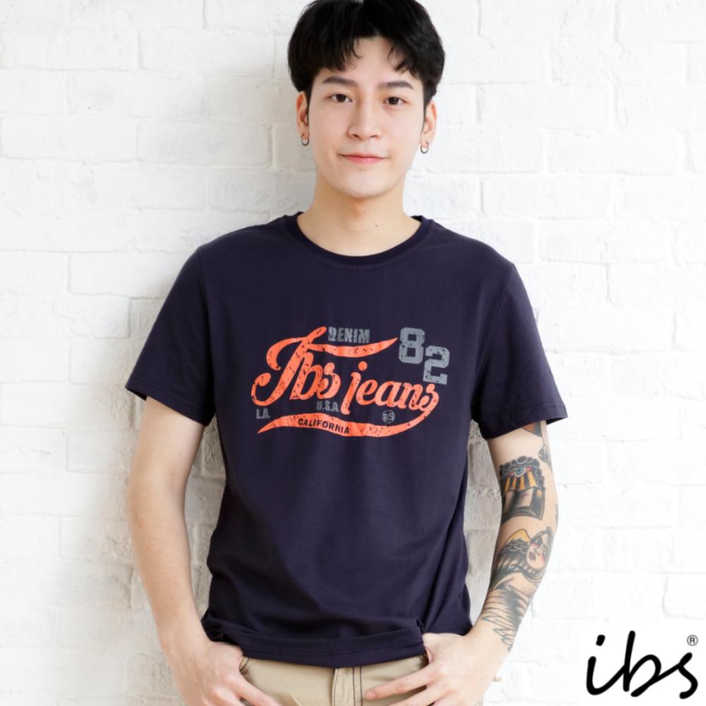 ibs斑駁字母印花T-男-深藍