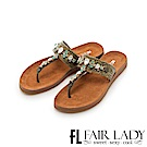 Fair Lady 皮革拼接水鑽夾腳涼拖鞋 綠