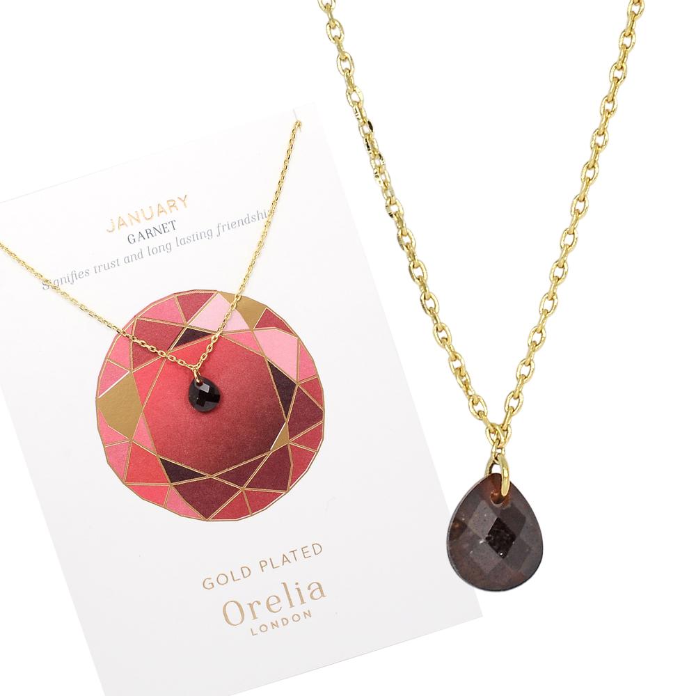 Orelia英國品牌 一月石榴石誕生石金色項鍊