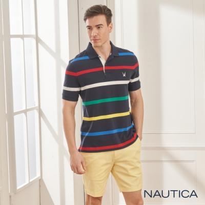 Nautica清新細條紋短袖POLO衫-深藍