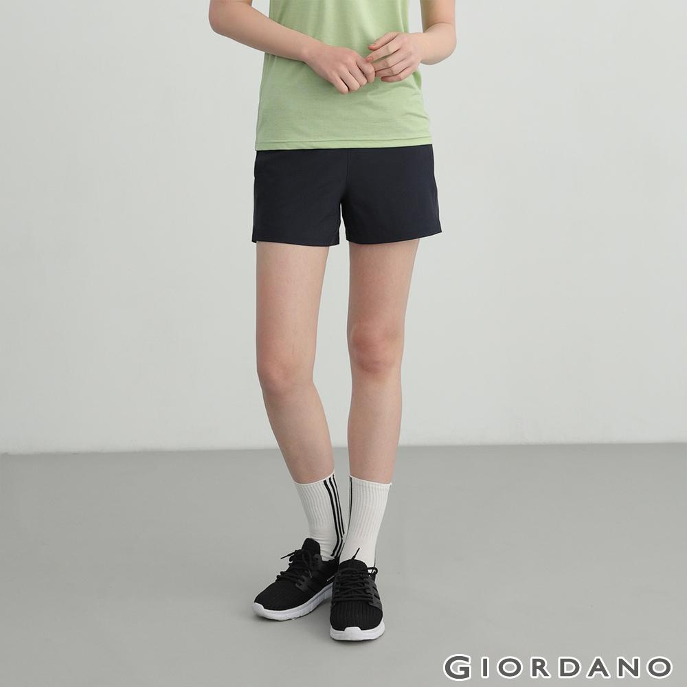 GIORDANO 女裝四面彈力內抽繩短褲 - 66 標誌海軍藍