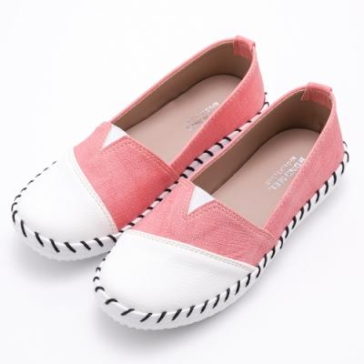 River&Moon台灣製撞色拼接皮革Q軟縫線懶人休閒鞋 粉
