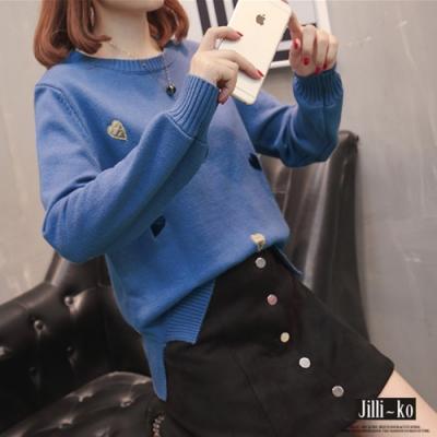 JILLI-KO 立體繡線配色愛心親膚毛衣- 藍/白