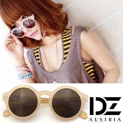 DZ 復古透圓調 抗UV太陽眼鏡 墨鏡(裸粉框黃褐片)