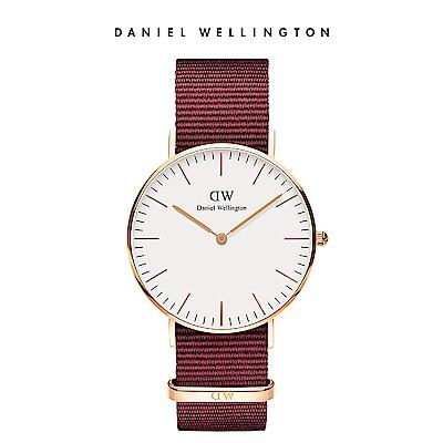DW 手錶 官方旗艦店 36mm玫瑰金框 Classic 玫瑰紅織紋錶