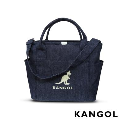 KANGOL 韓版玩色-牛仔手提/斜背托特包-深藍 AKG1216-A