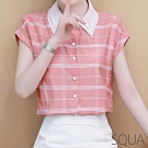 SQUA 縫珠領格紋雪紡襯衫-二色-(M~XL)