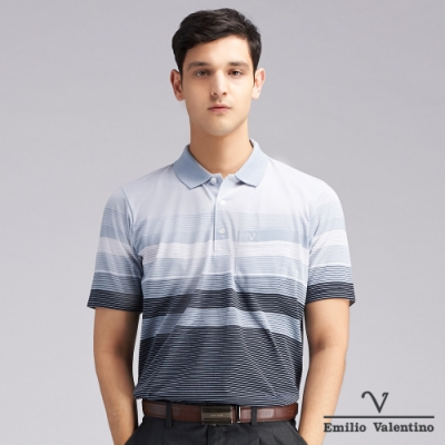 Emilio Valentino范倫鐵諾時尚簡約橫紋POLO衫_灰/藍(66-V3109)