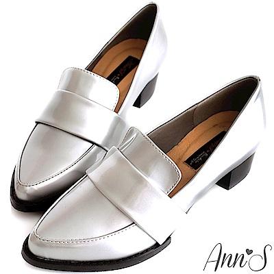 Ann'S時髦復古-韓系粗跟紳士休閒便鞋-銀