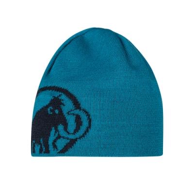 【Mammut 長毛象】Tweak Beanie 保暖針織LOGO羊毛帽 藍寶石 #1191-01352