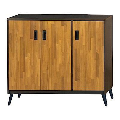 綠活居 明尼達時尚4尺雙色三門鞋櫃/玄關櫃-119x36x99cm-免組