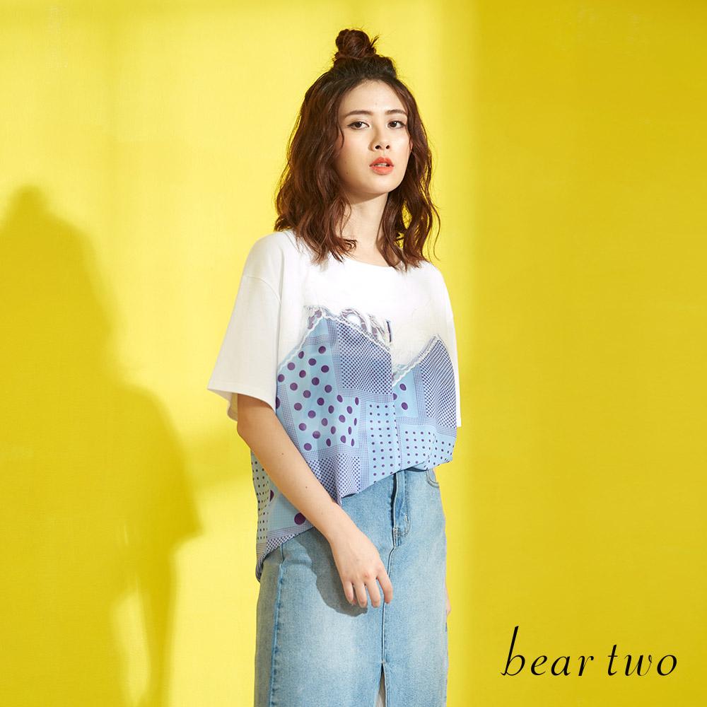 beartwo 幾何點點蕾絲拼接T恤上衣(二色)