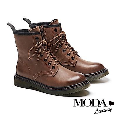 短靴 MODA Luxury 率性經典牛皮綁帶馬汀馬丁中筒短靴-咖