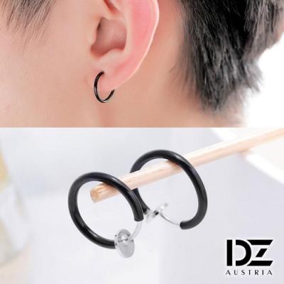 DZ 簡約素面 316L白鋼C圈耳環(黑系)