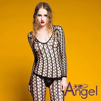 Angel天使 情趣內衣性感鏤空漁網眼連身開襠網襪 BP112