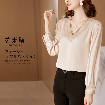 艾米蘭-修身甜美氣質優雅簡約V領造型上衣-2色(M-XL)