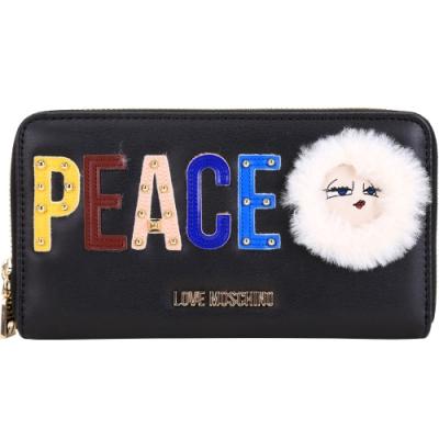 LOVE MOSCHINO PEACE字母鉚釘拼貼拉鍊長夾(黑色)