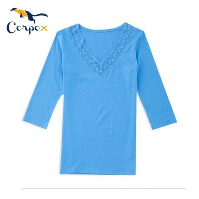 CorpoX 七分袖蕾絲涼感美容上衣-藍