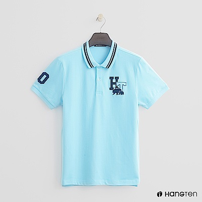 Hang Ten - 男裝 - logo滾邊領POLO衫 - 淺藍
