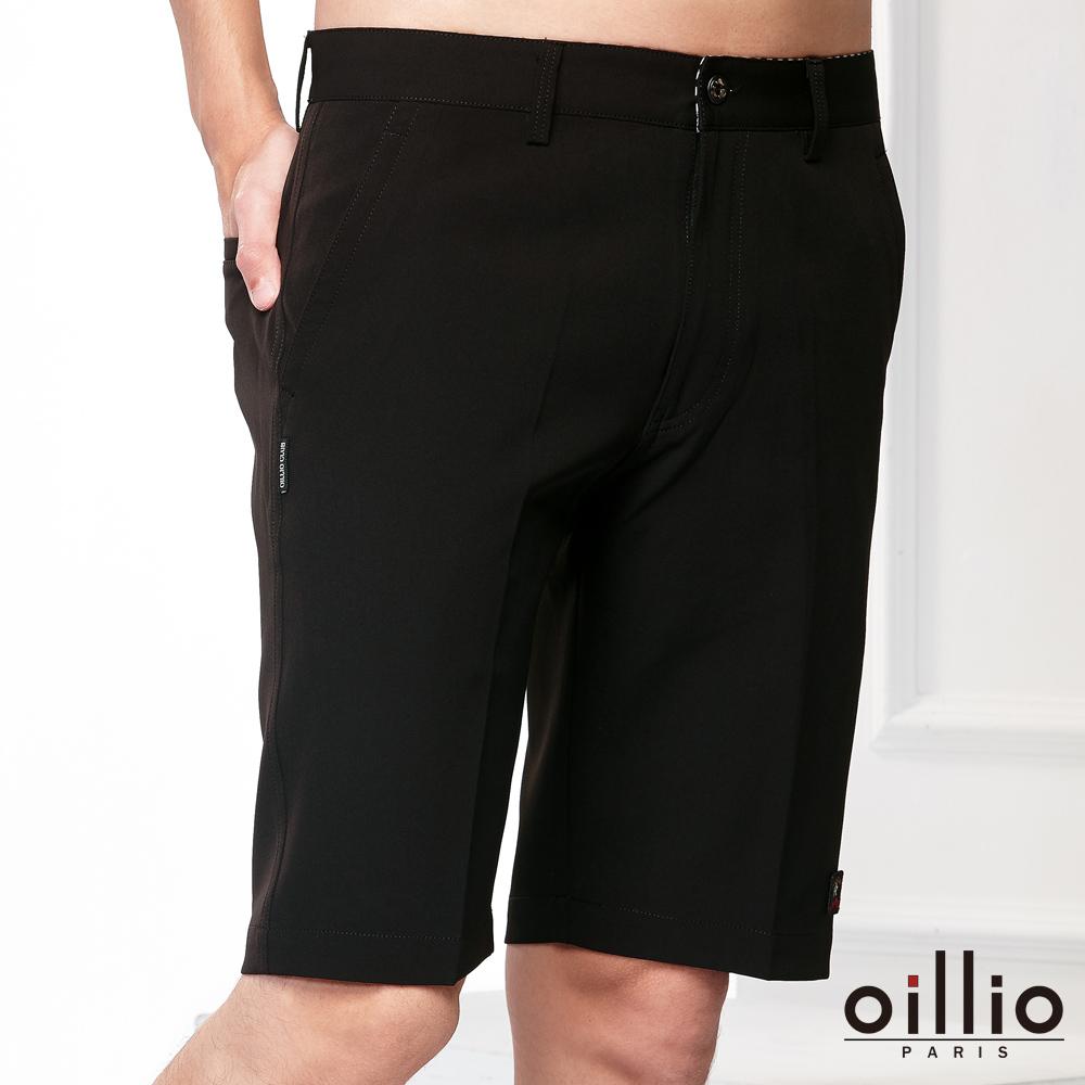oillio歐洲貴族 休閒短褲 質感褲款 電腦刺繡 黑色