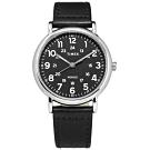 TIMEX 天美時 INDIGLO 專利冷光照明 24小時 真皮手錶-黑色/40mm