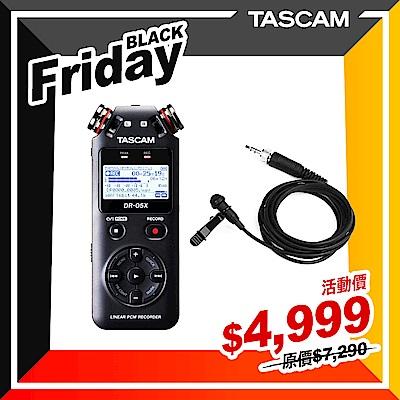 【日本TASCAM】DR-05X 錄音機+TM-10LB 領夾式麥克風套組