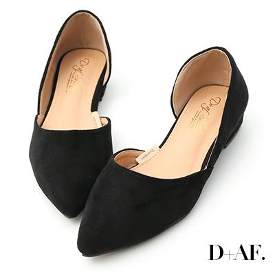 D+AF 典雅品味.素面絨料側挖空尖頭鞋*黑