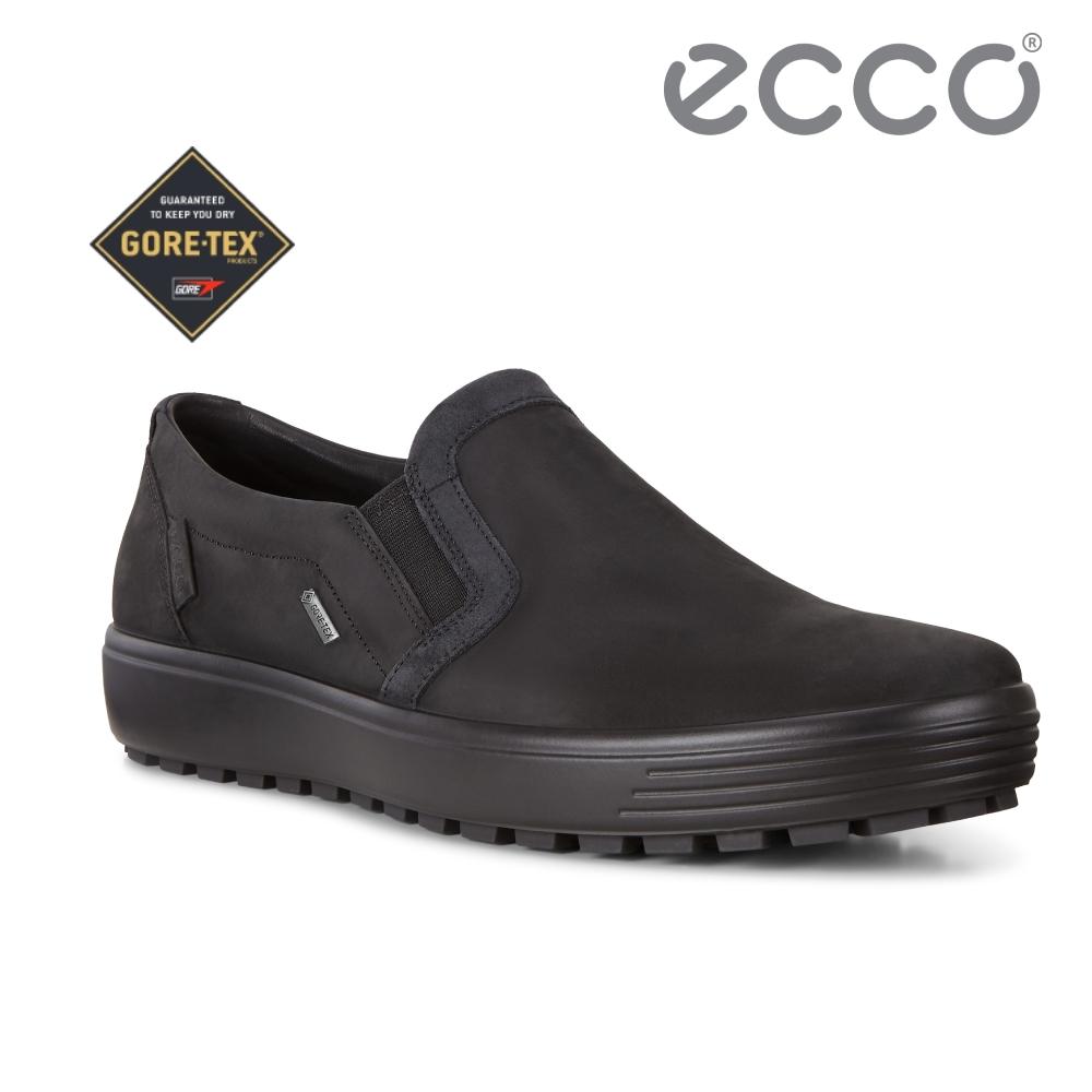 ECCO SOFT 7 TRED M 舒適防水套入式休閒鞋 男-黑