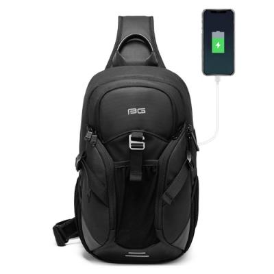 leaper 多口袋USB充電防水單肩斜挎包胸包 黑色
