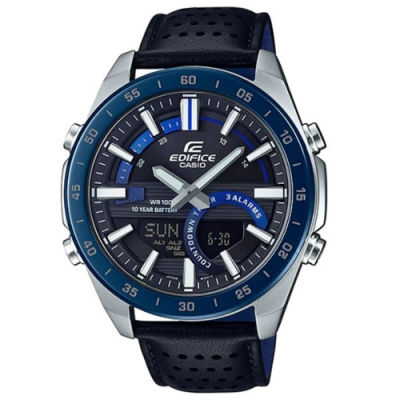 EDIFICE新潮流賽車概念雙顯皮帶腕錶-(ERA-120BL-2A)/51.5mm