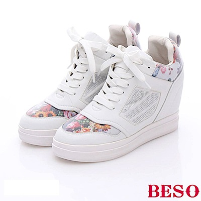 BESO 潮人街頭風 時尚燙鑽拼接花布內增高休閒鞋~白