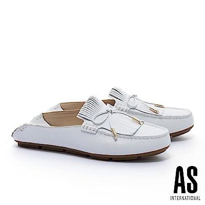 拖鞋 AS 反摺流蘇造型蝴蝶結全真皮莫卡辛平底拖鞋-白