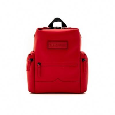 HUNTER - 上方開扣橡膠塗層皮革中型後背包 - 紅