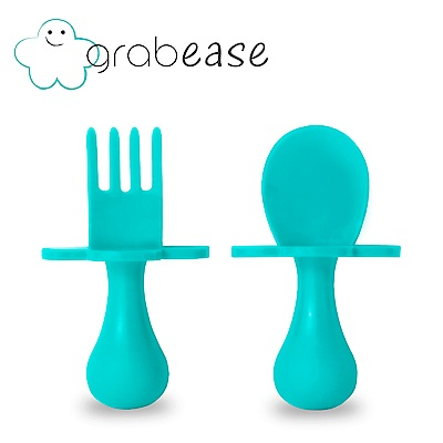 grabease 美國 嬰幼兒奶嘴匙叉組-水藍