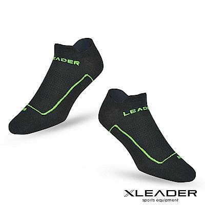 LEADER ST-01男款環形加壓 網眼導流透氣護踝薄短襪 運動襪  黑綠-急