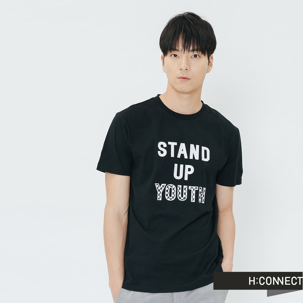 H:CONNECT 韓國品牌 男裝-休閒印字T-shirt-黑(快)