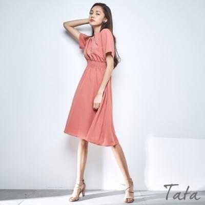 V領裝飾扣縮腰雪紡洋裝 共二色 TATA