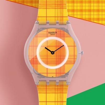 Swatch SKIN超薄系列 FIRE MADRAS 01 熱情紗麗(34mm)