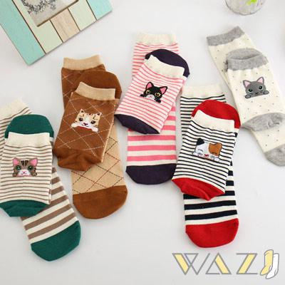 Wazi-貓咪家族棉質中筒襪 (1組五入)