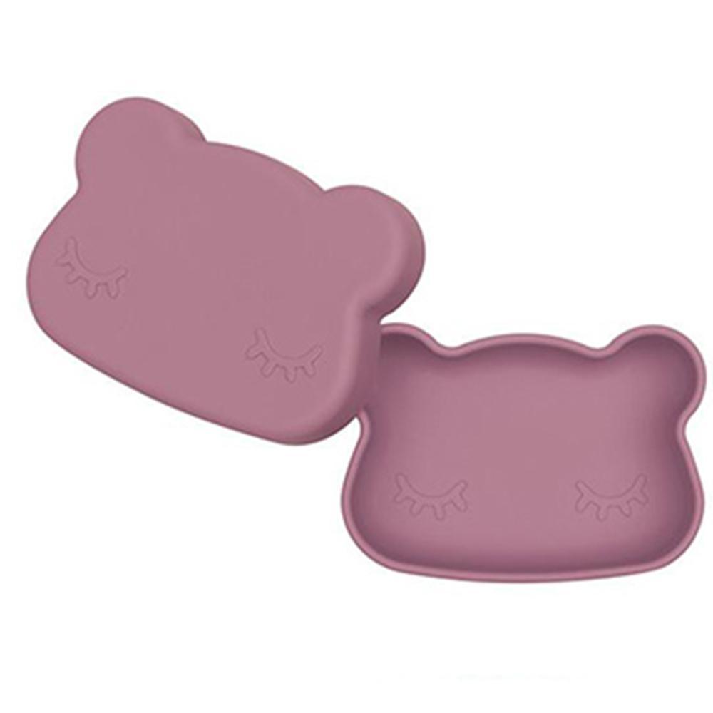 澳洲We Might Be Tiny 矽膠防滑便當盒熊寶寶-煙燻玫瑰