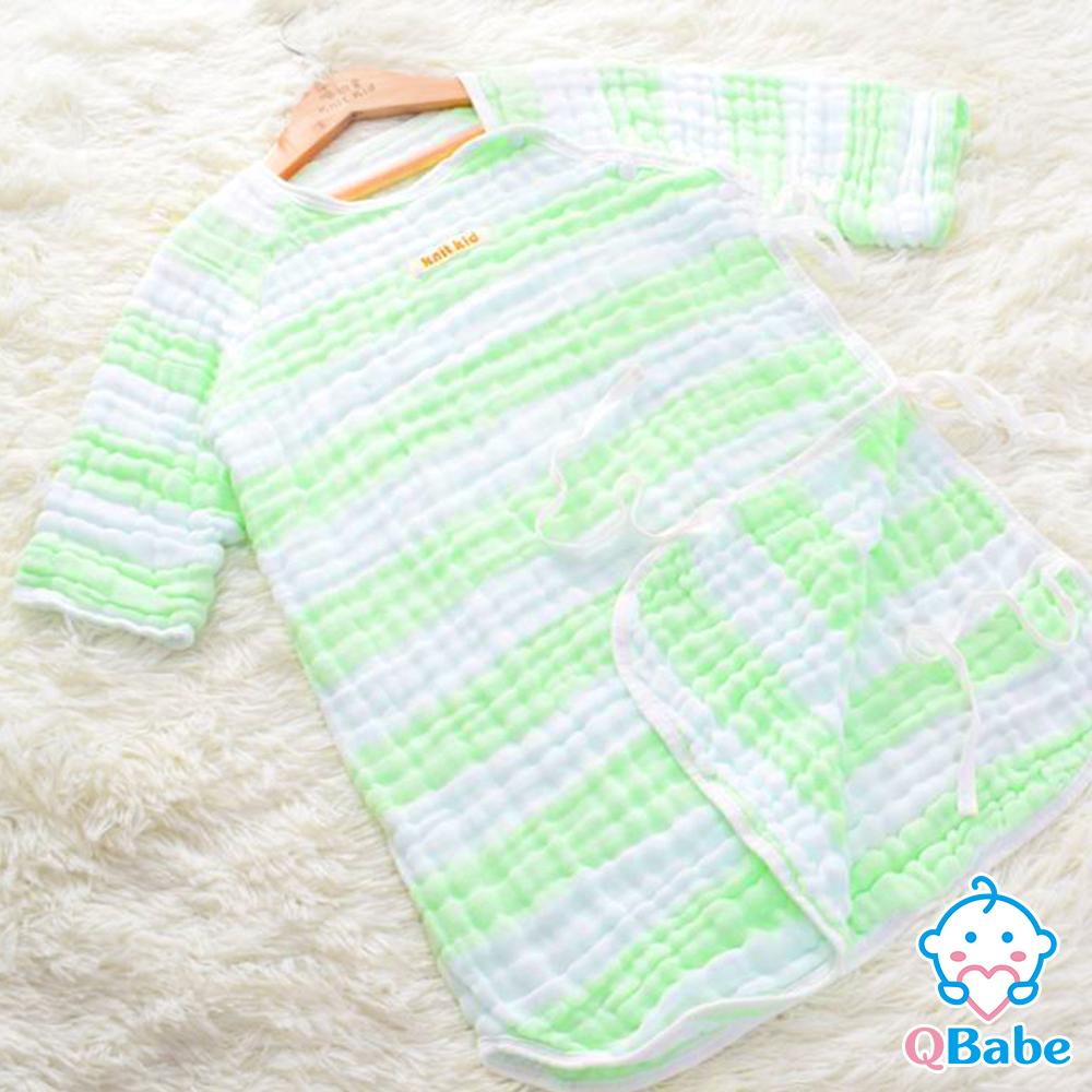 QBabe 六層紗條紋日式長袖防踢被(40x62)-綠色條紋