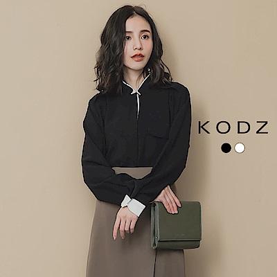 東京著衣-KODZ OL必備撞色袖口排扣立領襯衫-S.M.L(共兩色)