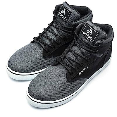 ARRIBA艾樂跑男鞋-素色拼接高筒休閒鞋-灰/黑(FA524)