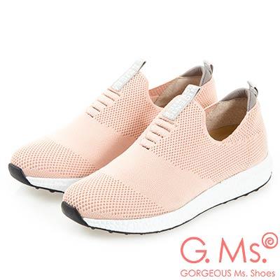 G.Ms. MIT系列-針織網布懶人休閒鞋-粉色