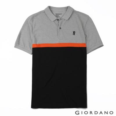 GIORDANO 男裝撞色條紋刺繡短袖POLO衫-03 灰/亮橘/黑