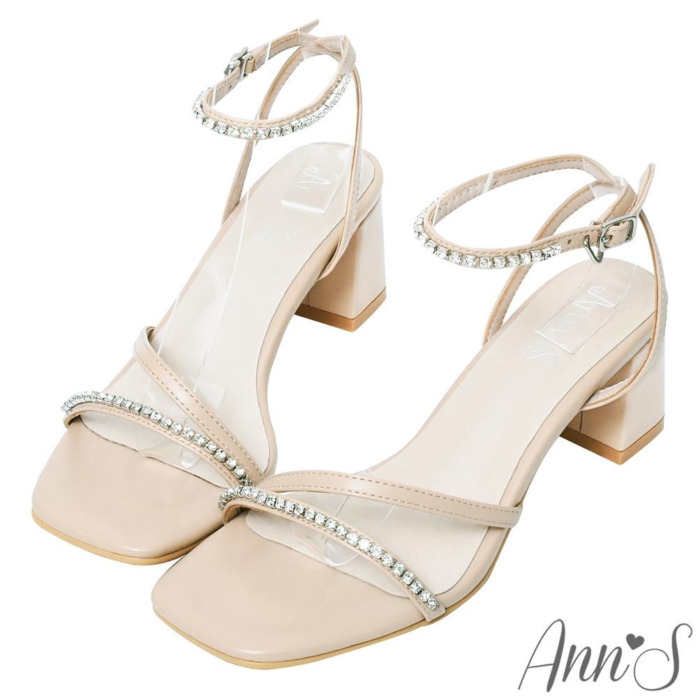 Ann'S散發光芒-顯瘦鑽石鍊帶方頭繫帶一字涼鞋-杏