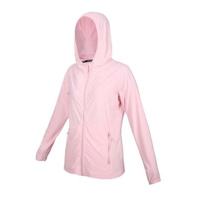 FIRESTAR 女彈性防曬連帽外套-涼感 運動 慢跑 路跑 上衣 JL175-43 粉紅銀