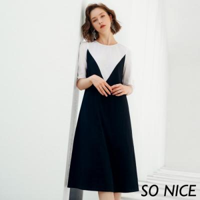 SO NICE時尚撞色印花泡泡袖洋裝